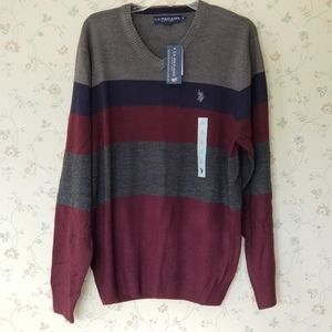 US POLO ASSN Long Sleeve Pullover V-Neck Sweater